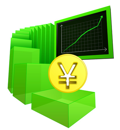 positive business results of yuan or yen vector illustration Vector