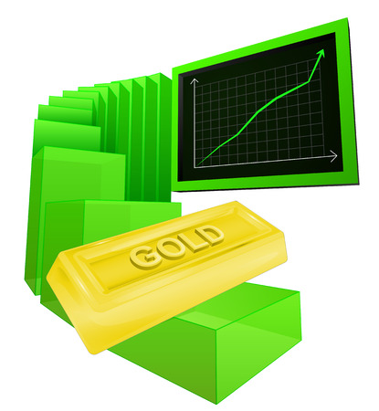 positive business graph of golden goods vector ilustration Vector