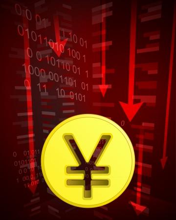 yuan: negative decreasing statistics with yuan coin vector illustration
