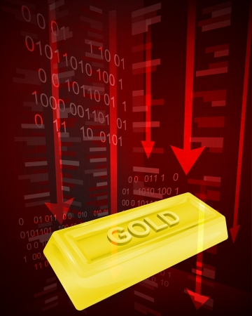negative value decrease of golden goods vector ilustration Vector