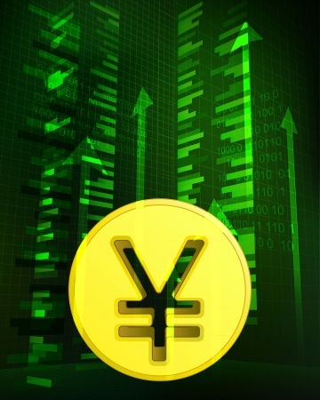 yuan: positive growth data with yuan coin vector illustration