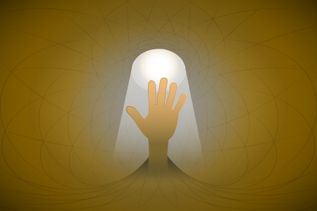 heavenly light: heavenly space with light beam highlights hand vector illustration