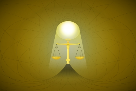 heavenly space with light beam highlights justice vector illustration Vector