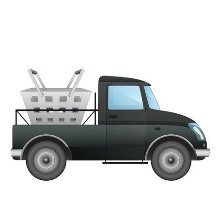 pick up: isol� ramasser voiture comme marchandises de supermarch�s offrent de dessin vectoriel illustration Illustration