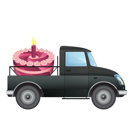 cake pick: isolated pick up car with celebration cake delivery vector drawing illustration
