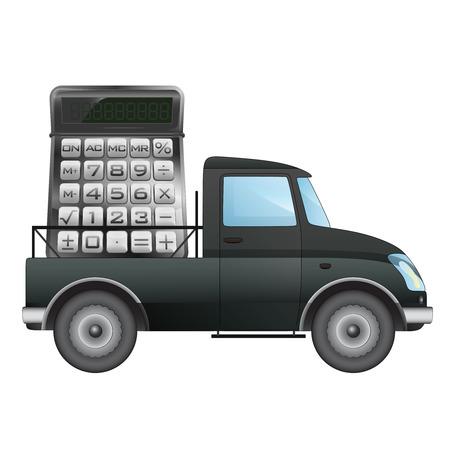 pick up: isol� ramasser voiture transporteur de votre calcul d'affaires de dessin vectoriel illustration
