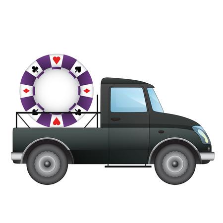 pick up: isol� ramasser voiture avec le poker livraison de puce de dessin vectoriel illustration Illustration