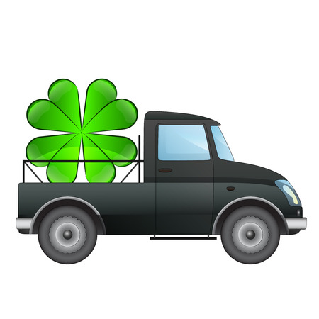 isolated pick up car transporter of your happiness vector drawing illustration Vector