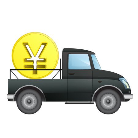 yuan: isolated pick up car as Yuan money business transporter vector drawing illustration