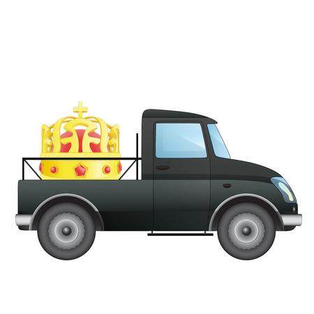 pick up: isol� ramasser voiture royale transporteur de dessin vectoriel illustration Illustration