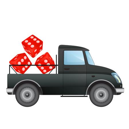 pick up: isol� ramasser voiture aussi chanceux transporteur de dessin vectoriel illustration