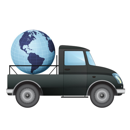 isolated pick up car transportation in american countries vector drawing illustration Vector