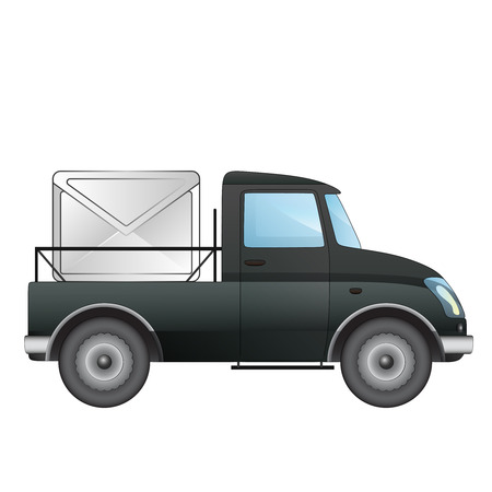isolated pick up car with correspondence message delivery vector drawing illustration Stock Vector - 22902146
