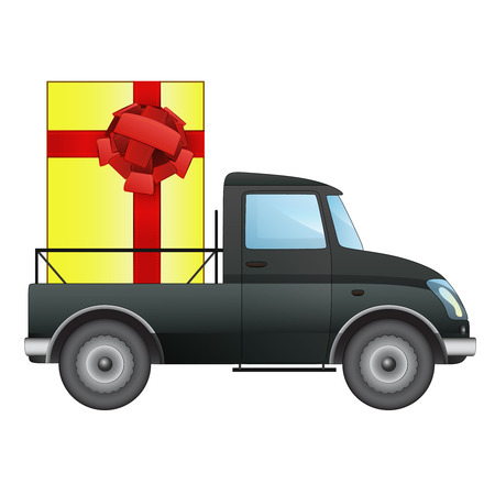 isolated pick up car with gift box delivery vector drawing illustration Vector