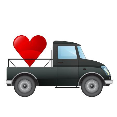 pick up: isol� ramasser concept de transport d'amour de voiture de dessin vectoriel illustration