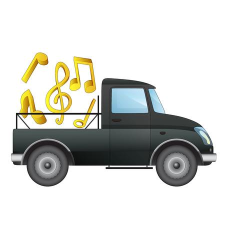 pick up: isol� ramasser voiture avec livraison vecteur musique amusante illustration de dessin