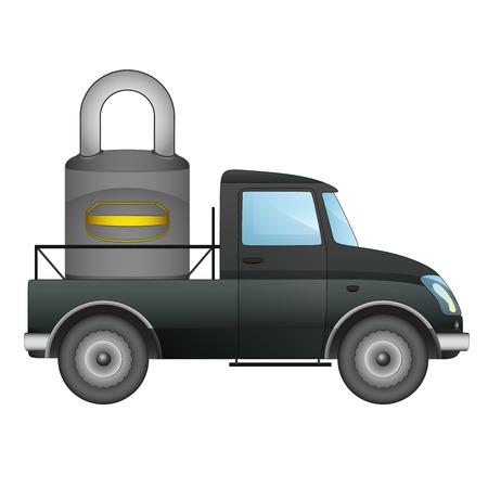 pick up: isol� ramasser parking s�curis� vecteur de livraison de transport dessin illustration Illustration