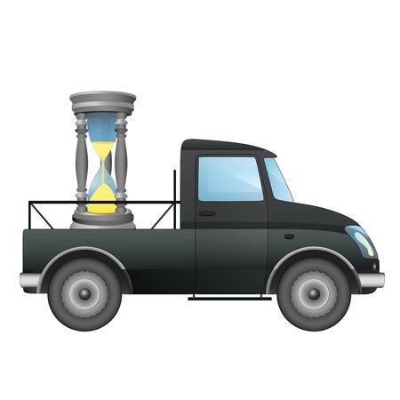 pick up: isol� ramasser voiture rapide dans le temps de livraison de dessin vectoriel illustration Illustration