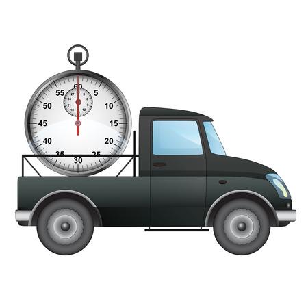 pick up: isol� ramasser voiture sur le temps de livraison de dessin vectoriel illustration Illustration