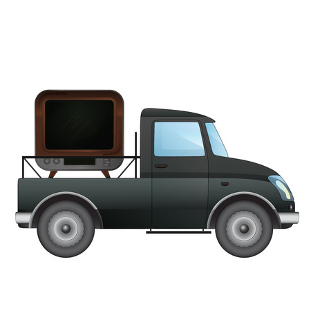news van: isolated pick up car with television broadcast delivery vector drawing illustration