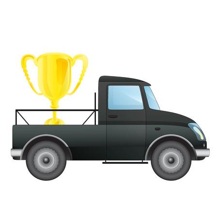pick up: isol� ramasser voiture avec les champions tasse de dessin vectoriel illustration