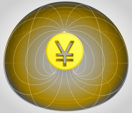 yuan: golden matrix cell with yuan coin in the middle vector illustration