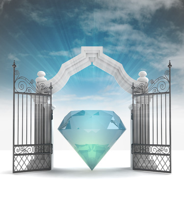 place of worship: divine diamond in heavenly gate with sky flare illustration