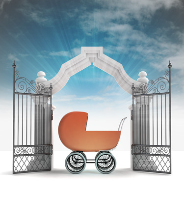 place of worship: divine babyborn gift in heavenly gate with sky flare illustration Stock Photo