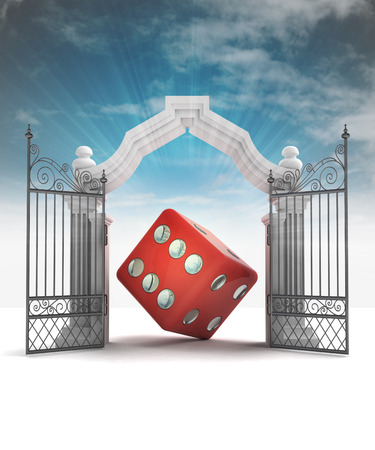 divine dice luck in heavenly gate with sky flare illustration illustration