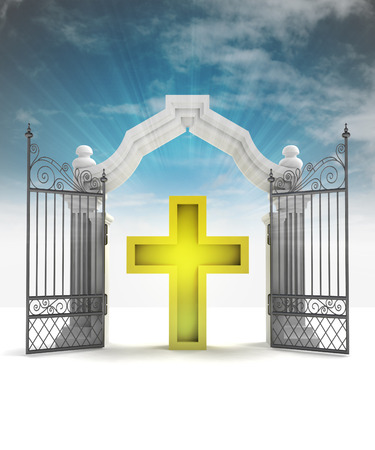 godness: divine golden cross in heavenly gate with sky flare illustration