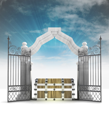 divine treasure secret in heavenly gate with sky flare illustration illustration