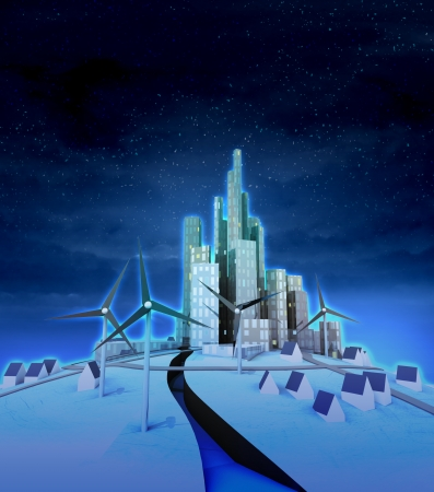 windmill electric power charge modern city at night illustration illustration