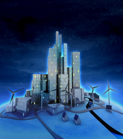 windmills and modern cityscape general night view illustration illustration