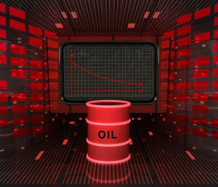 business decrease or negative results of petroleum industry illustration  illustration