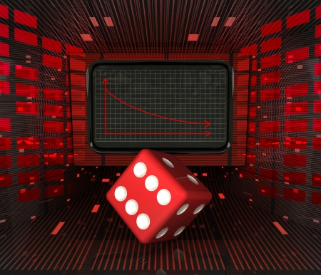unlucky: business decrease or negative results and unlucky dice illustration