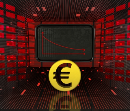 business decrease or negative results of Euro currency illustration  illustration