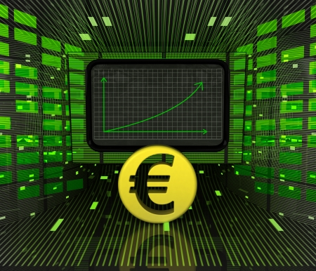 business positive graph forecast or results of Euro currency illustration illustration