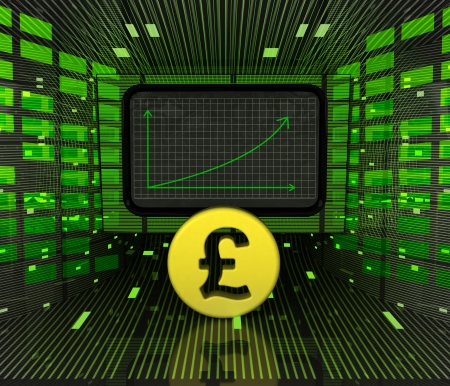 british currency: business positive graph forecast or results of british currency illustration Stock Photo