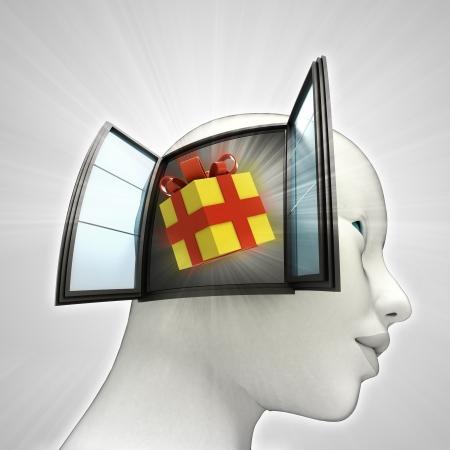 ギフト驚きまたはウィンドウの概念図を人間の頭の中を来る