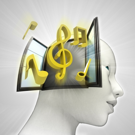 music coming out or in human head through window concept illustration illustration
