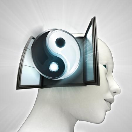 またはウィンドウの概念図を人間の頭の中を来ている魂の調和