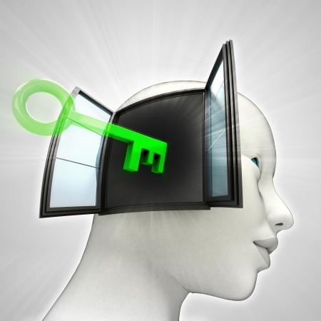 key opening  human head through window memory concept illustration illustration