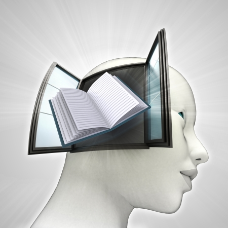 education book coming out or in human head through window knowledge concept illustration illustration