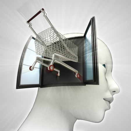 drive through: shopping cart drive out or in human head through window concept illustration Stock Photo