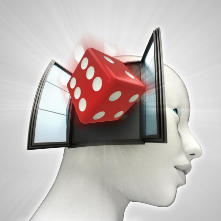 lucky dice coming out or in human head through window concept illustration illustration