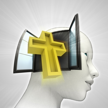 godness: holy cross religion coming out or in human head through window concept illustration Stock Photo