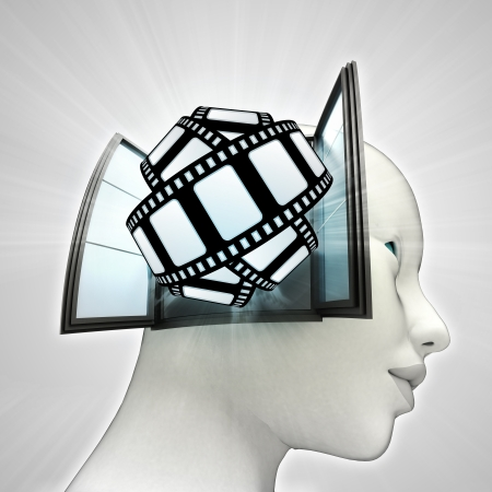 movie tape fun coming out or in human head through window concept illustration illustration