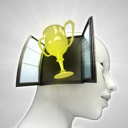 champions cup coming out or in human head through window concept illustration illustration