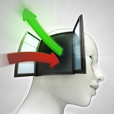 人間の頭の概念を説明ので出てくる緑赤知識転送矢印 写真素材