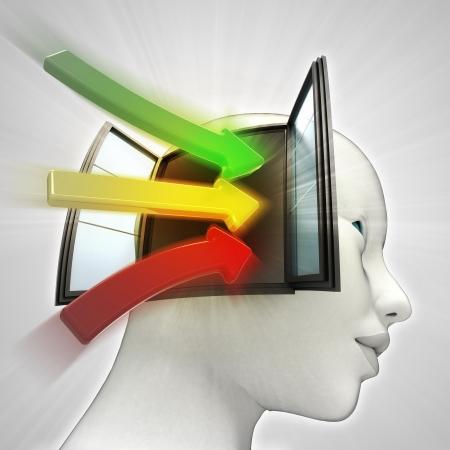 人間の頭の知識概念図としてウィンドウ中に来る 3 つの色方法矢印